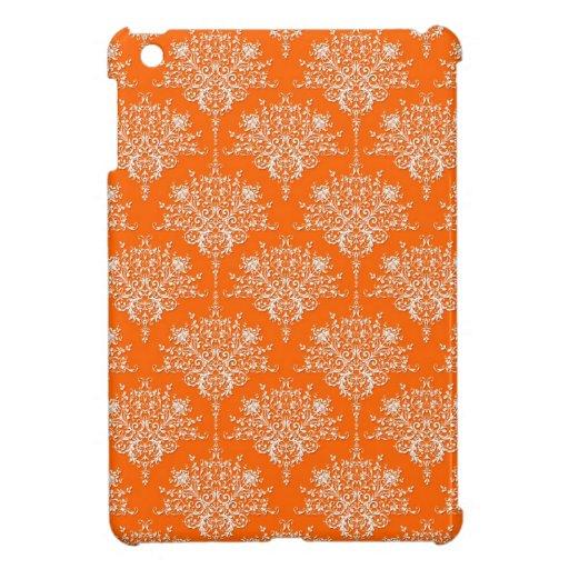 Bright Orange and White Damask Cover For The iPad Mini