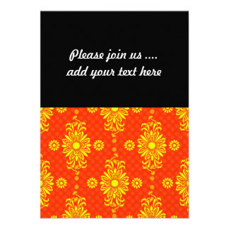 Bright Orange and Yellow Floral Pattern Cards