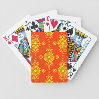Bright Orange and Yellow Floral Pattern Poker Deck