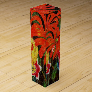 Bright Orange Botanical Vintage Oil Painting Wine Gift Box