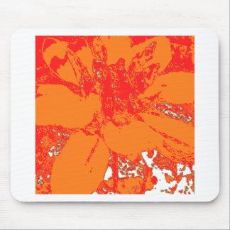 Bright Orange Floral Dahlia Flower Pattern Mouse Pad