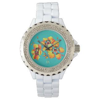 Bright Orange Flowers - Aqua- Monogram Watch