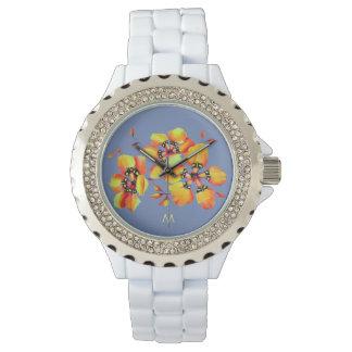 Bright Orange Flowers - Blue Grey - Monogram Watch