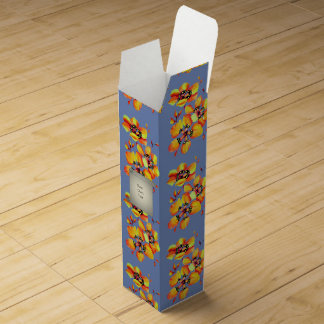 Bright Orange Flowers - Blue Grey Wine Gift Box