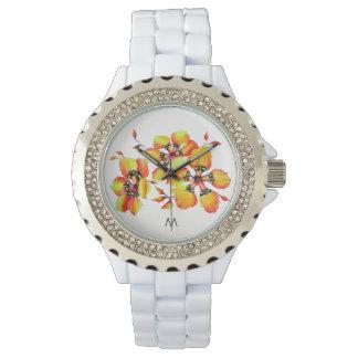 Bright Orange Flowers - Monogram Watch