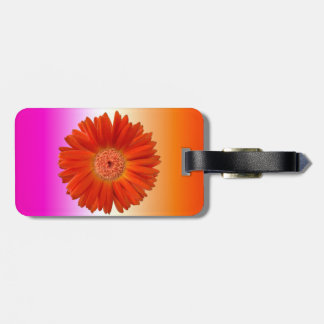 Bright Orange Gerbera Daisy on Hot Pink Luggage Tag