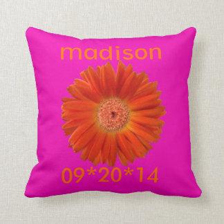 Bright Orange Gerbera Daisy on Pink Throw Pillows
