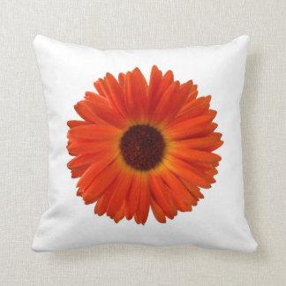 Bright Orange Gerbera Daisy Throw Pillow