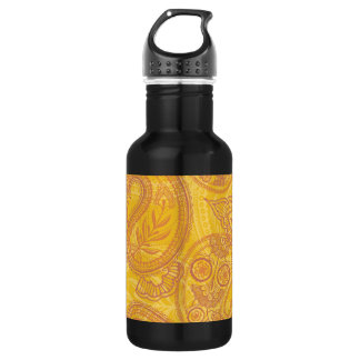 Bright Orange & Gold Paisley 532 Ml Water Bottle