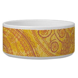 Bright Orange & Gold Paisley Dog Bowls