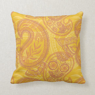 Bright Orange & Gold Paisley Throw Cushions