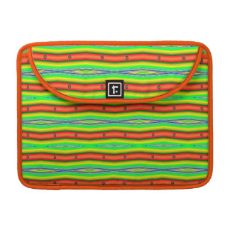 Bright Orange Green Striped Abstract Sleeve For MacBook Pro