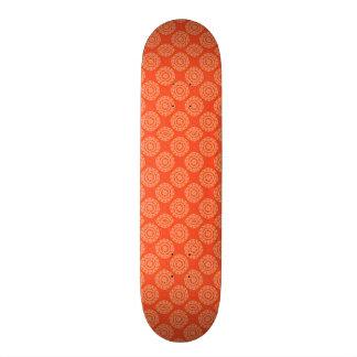Bright Orange Pattern with Floral Circle Pattern 21.3 Cm Mini Skateboard Deck