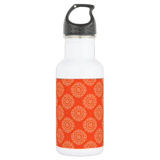 Bright Orange Pattern with Floral Circle Pattern 532 Ml Water Bottle