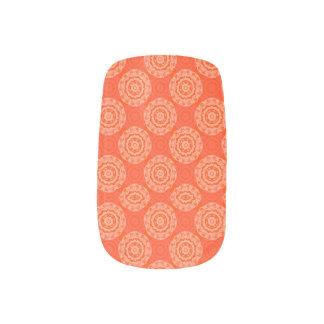 Bright Orange Pattern with Floral Circle Pattern Minx Nail Art