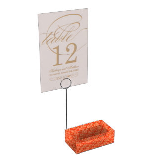 Bright Orange Pattern with Floral Circle Pattern Table Card Holder