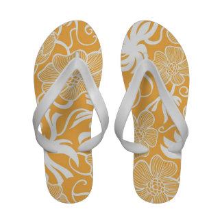 Bright Orange Tropical Beach Floral Flip-Flops