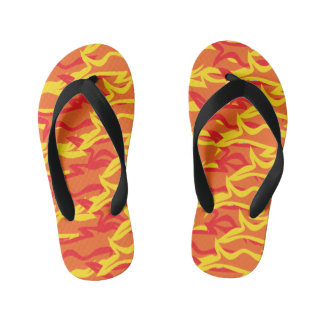 Bright Orange & Yellow Flames Boy Flip Flops Thongs