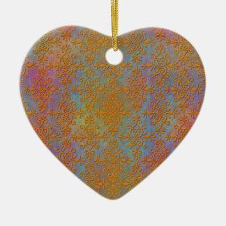 Bright Orange Yellow Gold Damask Abstract Art Ceramic Heart Decoration