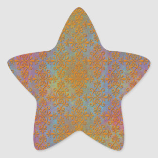 Bright Orange Yellow Gold Damask Abstract Art Star Sticker