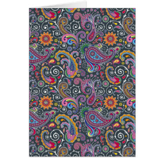 Bright Paisley on Flat Black Card