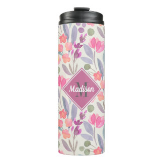 Bright Pastels Floral Pattern with Monogram Thermal Tumbler