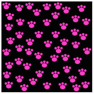 Bright Pink and Black Paw Print Pattern. Photo Sculpture Magnet
