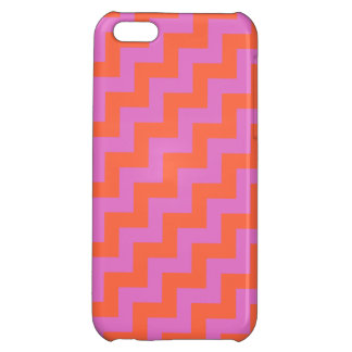 Bright Pink and Orange Diagonal Chevrons Pattern iPhone 5C Cover