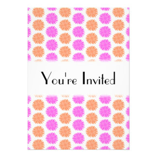 Bright Pink and Orange Flowers. Personalized Announcement