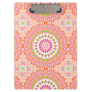 Bright Pink and Orange Spring Mandala Flower Clipboard