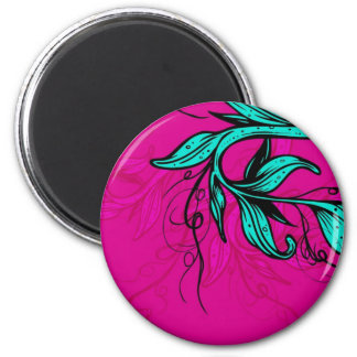 Bright Pink/Cyan Floral Magnet