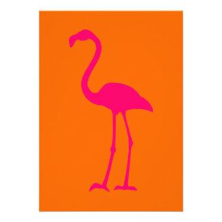 Bright Pink Flamingo on Orange Personalized Invitation