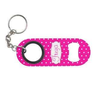 Bright pink flower polka dots name bottle opener