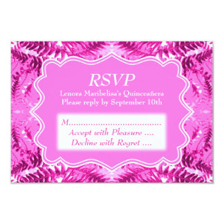 Bright Pink Foliage Pattern Quinceanera Card