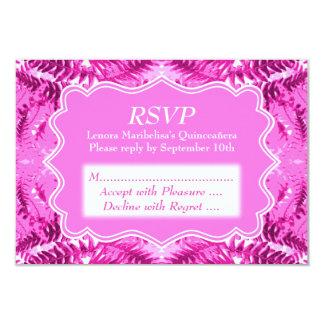 Bright Pink Foliage Pattern Quinceanera 9 Cm X 13 Cm Invitation Card
