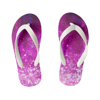Bright pink glitter black cool galaxy pattern thongs