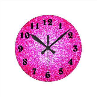 Bright pink glitter fashion round clock