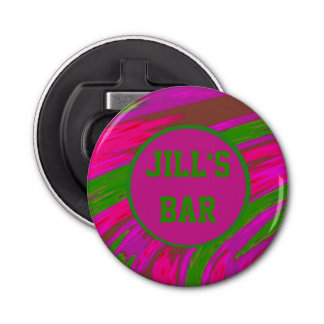 Bright Pink Green Color Swish Bottle Opener