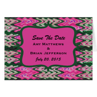 Bright Pink Green Save the Date Card