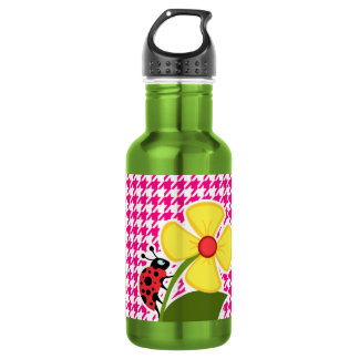 Bright Pink Houndstooth; Ladybug 532 Ml Water Bottle