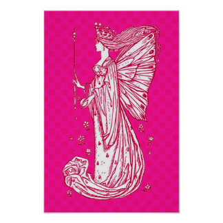 Bright Pretty Pink Butterfly Fairy Print