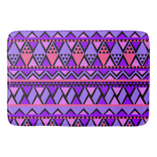 Bright Purple Blue Triangle Geometric Pattern Bath Mat