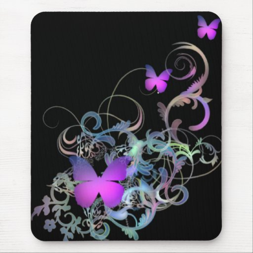 Bright Purple Butterfly Mouse Pad