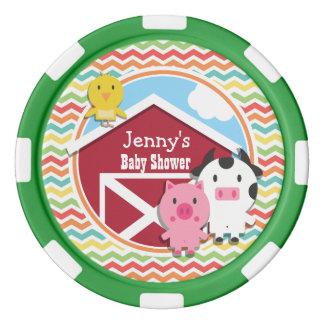 Bright Rainbow Chevron Farm Theme Baby Shower Poker Chips