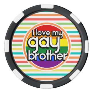Bright Rainbow Stripes; Gay Brother Poker Chips Set