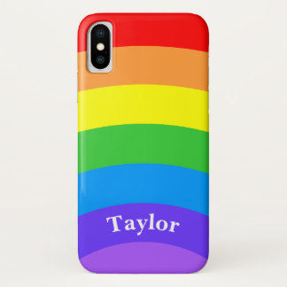 Bright Rainbow with Personalized Name iPhone X Case