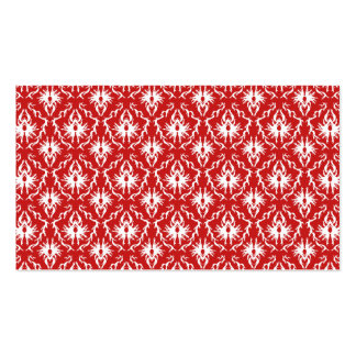 Bright Red and White Damask Pattern. Pack Of Standard Business Cards