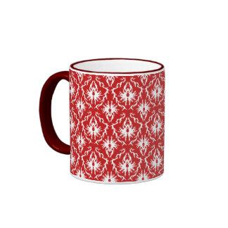 Bright Red and White Damask Pattern. Ringer Mug