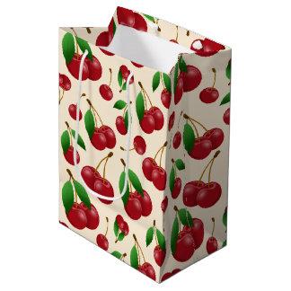 bright red cherries medium gift bag