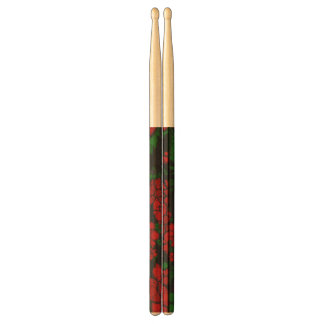 Bright Red Floral Abstract Drum Sticks